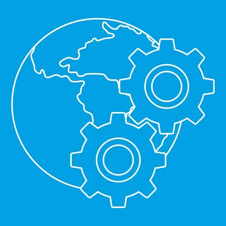 World planet and gears icon blue outline style isolated vector illustration. Thin line sign Illustration