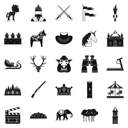 Horse icons set. Simple set of 25 horse vector icons for web isolated on white background Ilustração