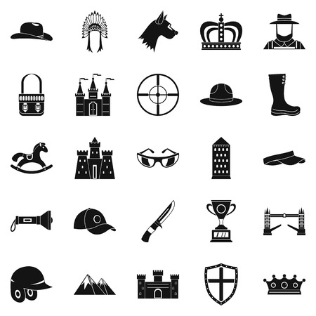 Equestrian icons set. Simple set of 25 equestrian vector icons for web isolated on white background Ilustração