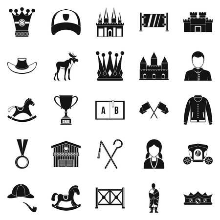 Horsemanship icons set. Simple set of 25 horsemanship vector icons for web isolated on white background