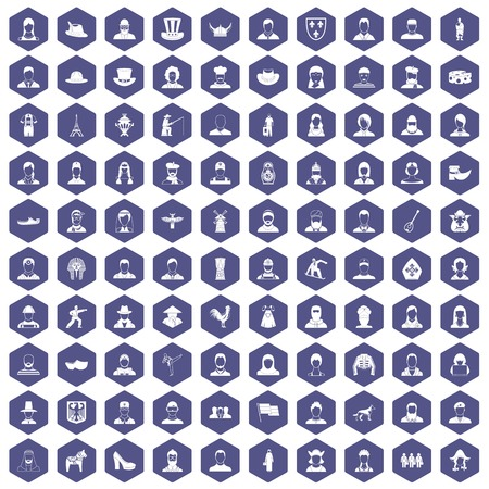 simple girl: 100 folk icons set in purple hexagon isolated vector illustration Illustration