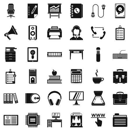 Work folder icons set. Simple style of 36 work folder vector icons for web isolated on white background Illustration