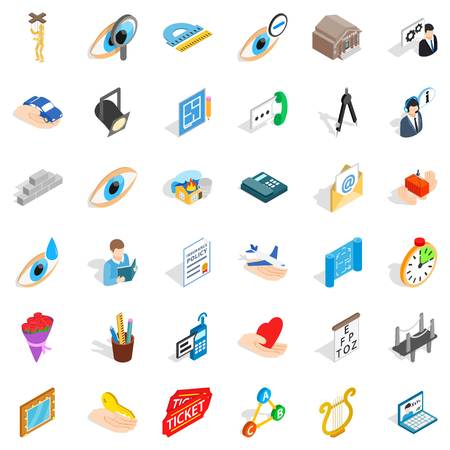 office building: Work internet icons set. Isometric style of 36 work internet vector icons for web isolated on white background Illustration