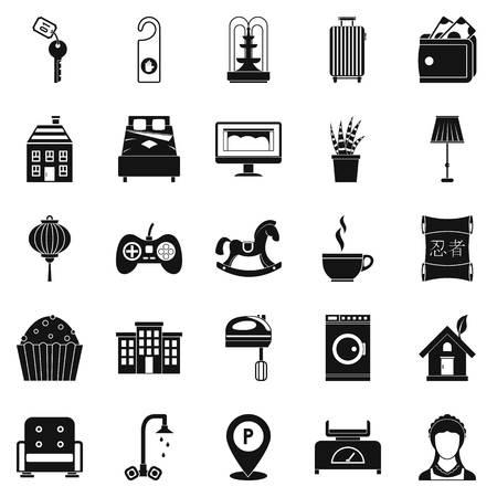 Pequeña casa para el conjunto de iconos de descanso. Conjunto simple de 25 casa pequeña para el resto iconos vectoriales para web aisladas sobre fondo blanco