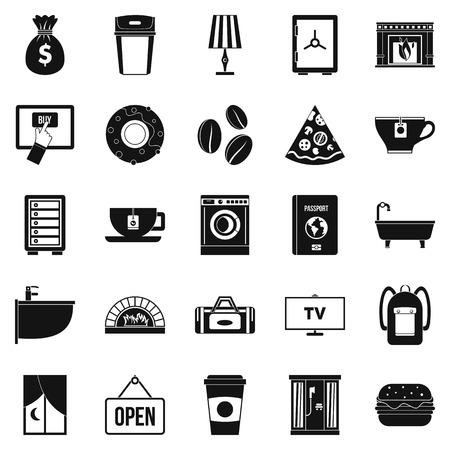 Conjunto de iconos de casa de vacaciones. Conjunto simple de 25 iconos de vector de casa de vacaciones para web aislado sobre fondo blanco