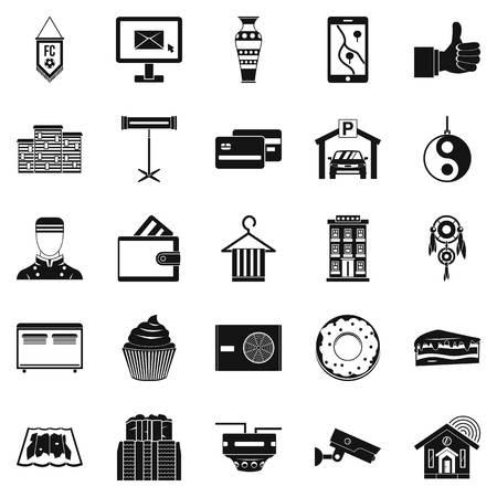 Conjunto de iconos de alojamiento. Conjunto simple de 25 iconos de vector de alojamiento para la web aislada sobre fondo blanco