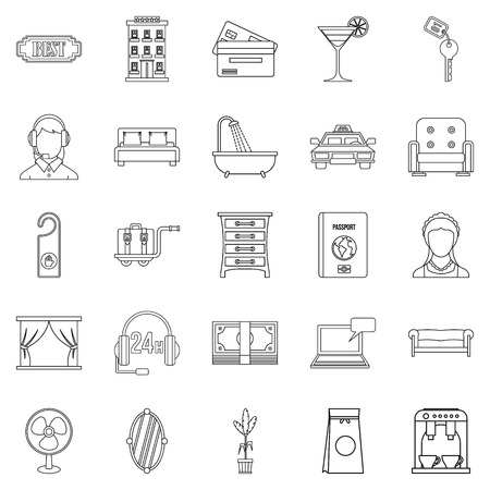 Conjunto de iconos de alojamiento. Conjunto de contorno de 25 iconos de vector de alojamiento para web aislado sobre fondo blanco