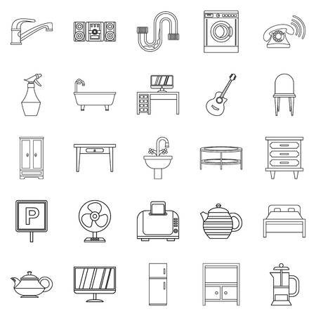 Lodging house icons set. Outline set of 25 lodging house vector icons for web isolated on white background Vectores
