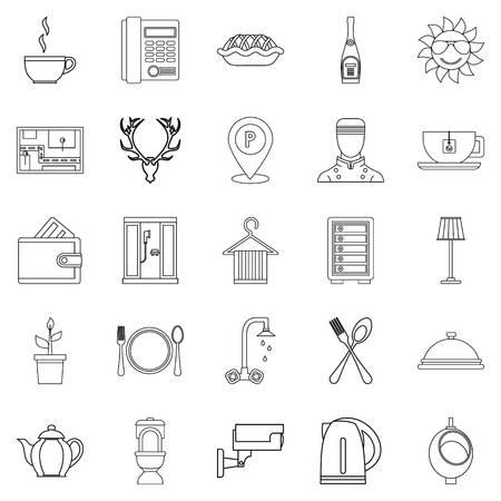 Conjunto de iconos de habitaciones amuebladas. Contorno conjunto de 25 habitaciones amuebladas iconos vectoriales para web aisladas sobre fondo blanco