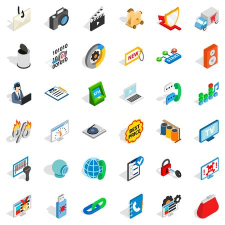 mov: WWW design icons set. Isometric style of 36 www design vector icons for web isolated on white background Illustration