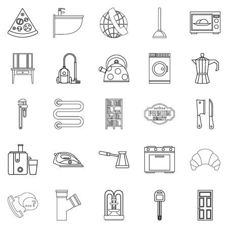 Conjunto de iconos de la casa habitación. Conjunto de contorno de 25 iconos de vector de casa de alojamiento para web aislado sobre fondo blanco