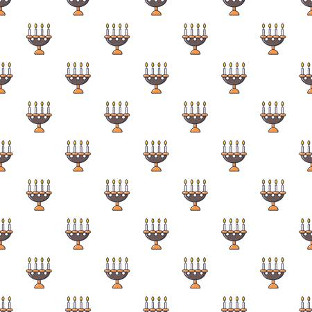 halloween background: Candlelight candlestick pattern in cartoon style. Seamless pattern vector illustration