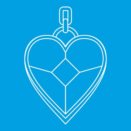 Pendant in the shape of heart icon blue outline style isolated vector illustration. Thin line sign Ilustrace