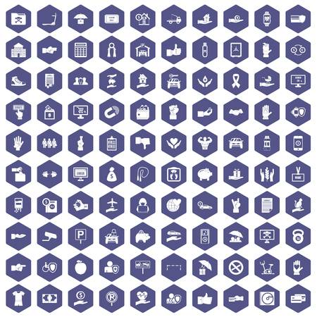100 hand icons set in purple hexagon isolated vector illustration