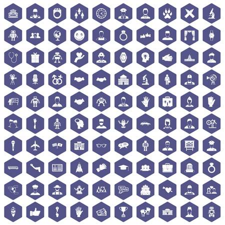 100 handshake icons set in purple hexagon isolated vector illustration