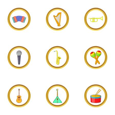 Music instrument icons set. Cartoon set of 9 music instrument vector icons for web isolated on white background 일러스트