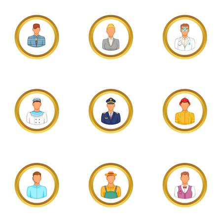 Folks icons set. Cartoon set of 9 folks vector icons for web isolated on white background Illustration