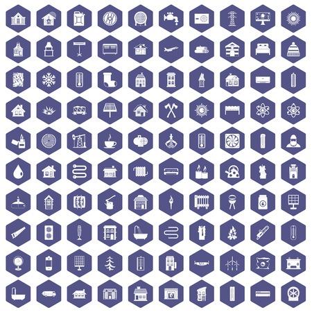 100 heating icons set in purple hexagon isolated vector illustration Illustration