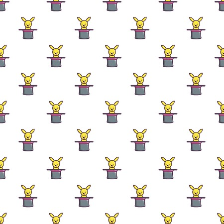 Cute bunny rabbit in magic hat pattern in cartoon style. Seamless pattern vector illustration  イラスト・ベクター素材