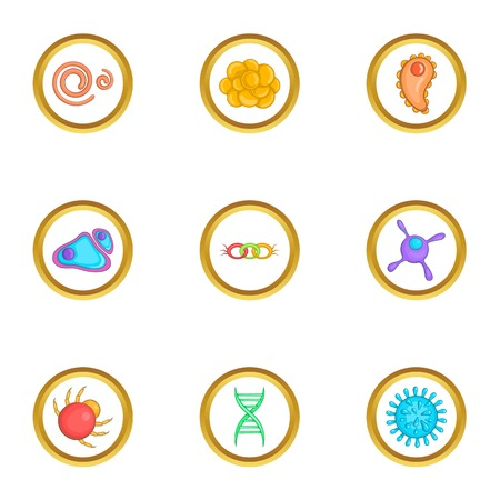 Organism icons set. Cartoon set of 9 organism vector icons for web isolated on white background Illustration