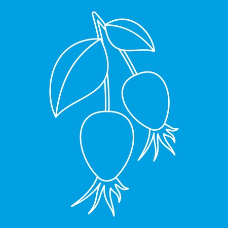 briar: Dogrose berry bunch icon blue outline style isolated vector illustration. Thin line sign