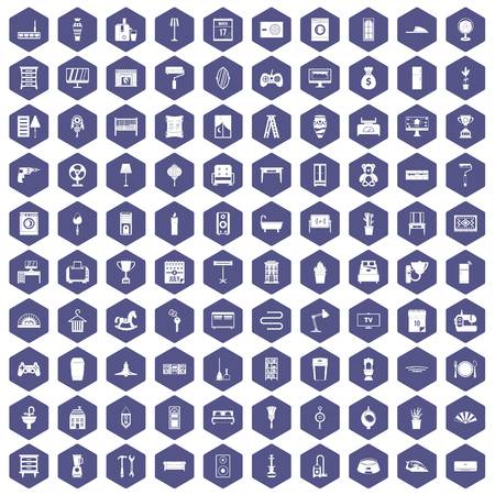 iron fan: 100 home icons set in purple hexagon isolated vector illustration