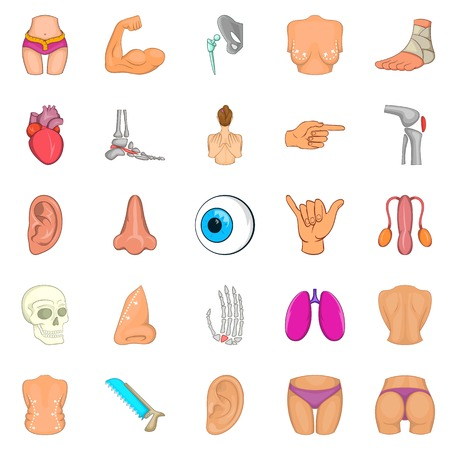 doctor appointment: Human body icons set. Cartoon set of 25 human body vector icons for web isolated on white background