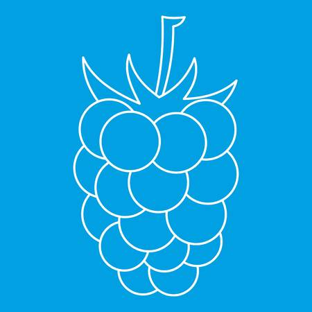 dewberry: Blackberry icon blue outline style isolated vector illustration. Thin line sign