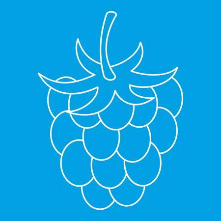 Raspberry icon blue outline style isolated vector illustration. Thin line sign