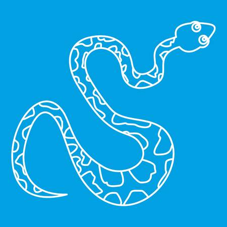 crawling creature: Black spotted snake icon blue outline style isolated vector illustration. Thin line sign