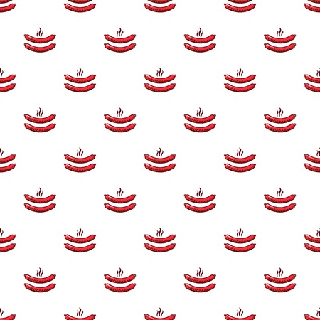 Sausages pattern in cartoon style. Seamless pattern vector illustration