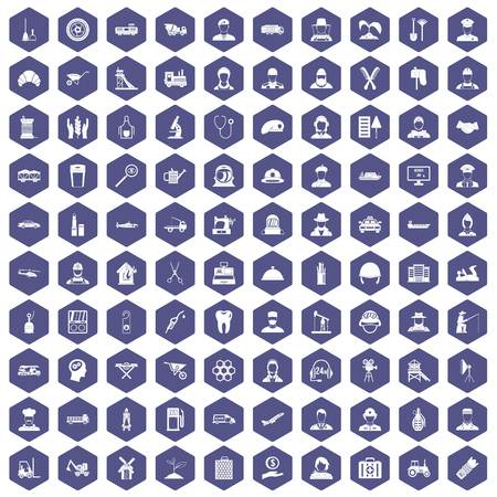 100 job icons hexagon purple. Çizim