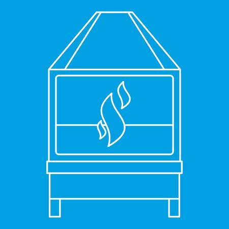 Blacksmith oven with flame fire icon blue outline style isolated.