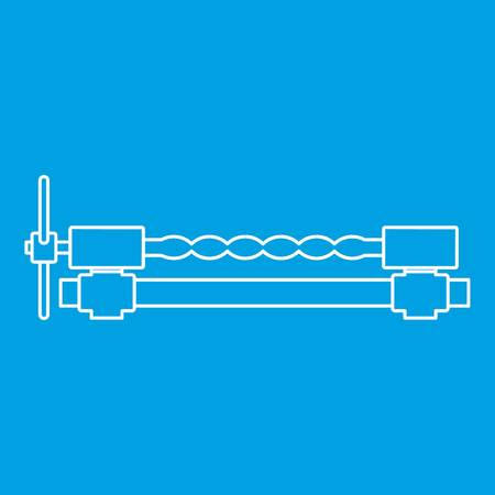 Blacksmiths clamp icon blue outline style isolated. Illustration