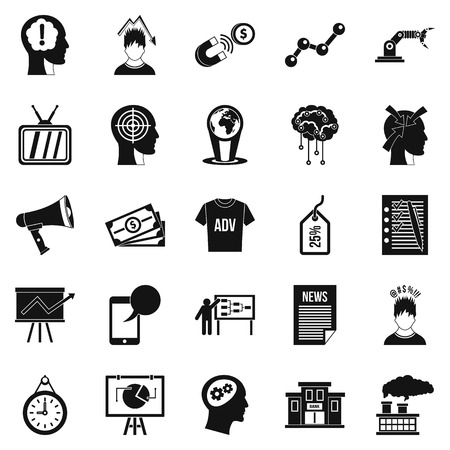 difficulties: Brainchild icons set, simple style. Illustration