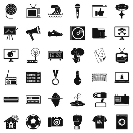 gps device: Television icons set, simple style Illustration