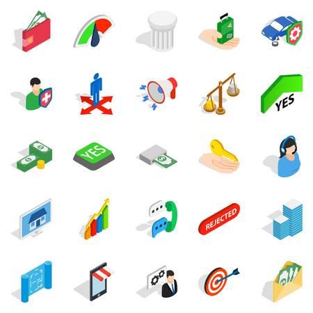 Apprehension icons set, isometric style
