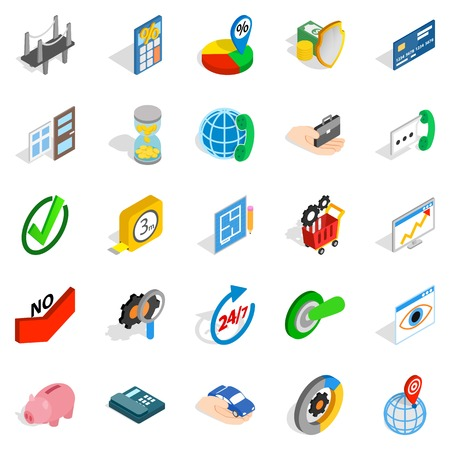 Set of concept icons in isometric style
