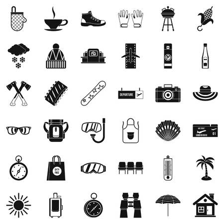 Summer vacation icons set, simple style