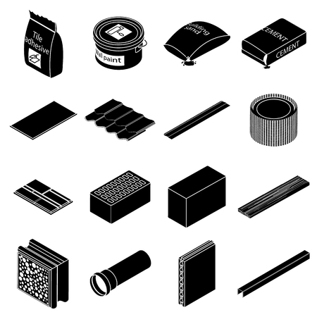 Building materials icons set, simple style Illustration