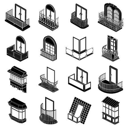 office building: Balcony window forms icons set, simple style Illustration