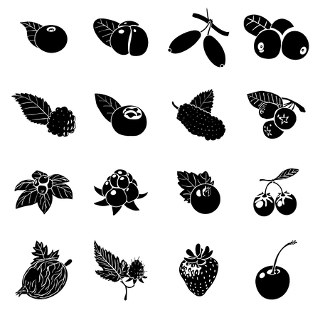 Set of berries icons, simple style