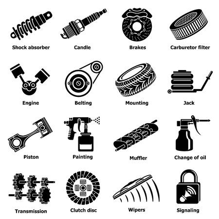 Set of car repair parts icons, simple style Ilustração