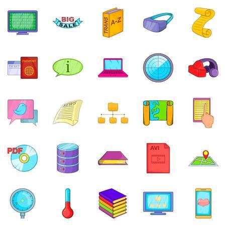 Info icons set, cartoon style