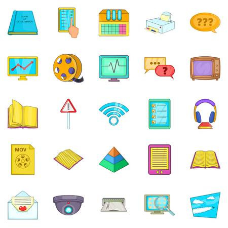 Gen icons set, cartoon style Illustration