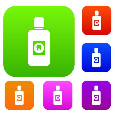 rinse: Bottle of green mouthwash set icon in different colors isolated vector illustration. Premium collection
