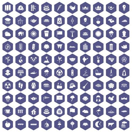100 lotus icons set in purple hexagon isolated vector illustration