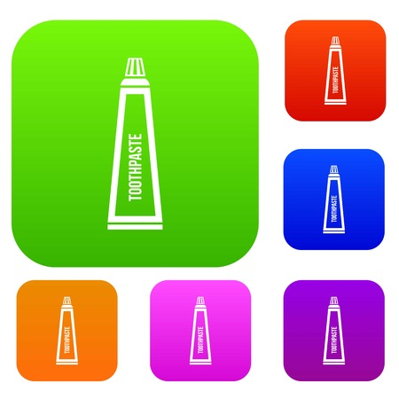 fluoride: Toothpaste in tube set icon in different colors isolated vector illustration. Premium collection