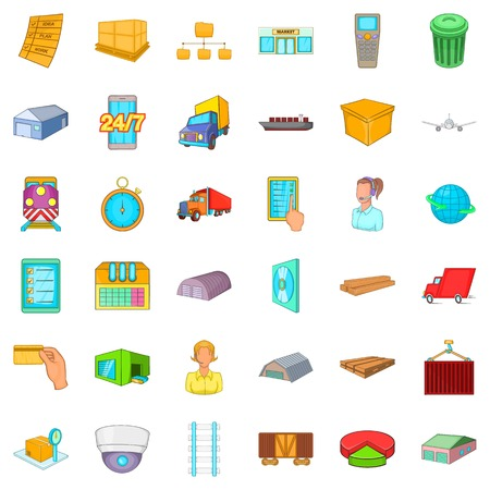 hangers: Delivery icons set, cartoon style