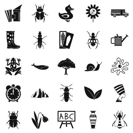 南京虫のアイコンを設定します。単純な web は、白い背景で隔離のための 25 の南京虫ベクトルのアイコンのセット